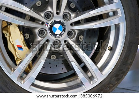 MUNICH, GERMANY - AUGUST 4, 2015: BMW X5 M at the BMW Welt, a customer experience and exhibition facility of the BMW AG, Munich, Germany - stock photo