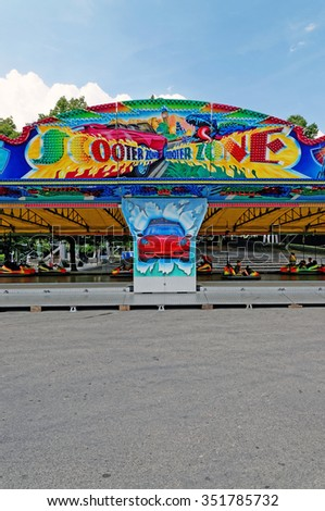 MUNICH, GERMANY - 4 AUGUST 2015: Bumper Cars at an amusement park - stock photo