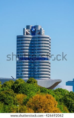 MUNICH, GERMANY, AUGUST 20, 2015: Headquarter of BMW in Munich, Germany. Located in the Olympiapark area of Munich is a landmark. This four cylinder building is designed by Karl Schwanzer