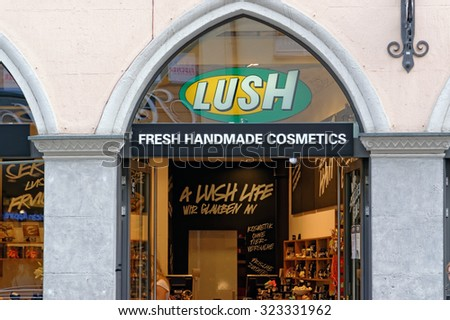 MUNICH, GERMANY - 4 AUGUST 2015: The exterior of Lush store in Munich, Germany. Lush is a popular UK high street store for cosmetic products. - stock photo