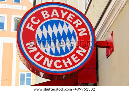 MUNICH, GERMANY - august 3, 2015: The logo of Bayern Munich fooball club on electronic displays at a souvenir shop. - stock photo