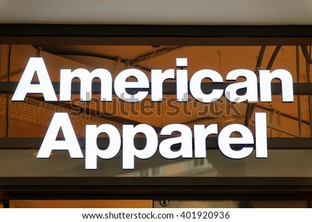 "MUNICH, GERMANY - AUGUST 4, 2015: The logo of the brand ""American Apparel"". It is an American clothing vertically integrated company, one of the largest apparel manufacturers in North America. - stock photo"