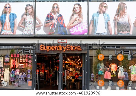 MUNICH, GERMANY - AUGUST 4, 2015: View at Superdry Store in Munich. It is a British international branded clothing company founded at 1985. - stock photo