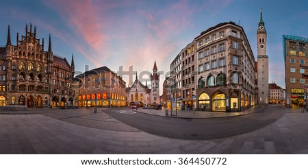 MUNICH, GERMANY - JANUARY 14, 2016: Panorama of Marienplatz in Munich, Germany. Marienplatz is a central square in Munich and has been the city's main square since 1158.