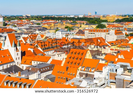 MUNICH, GERMANY - JULY 1, 2015: Aerial view from the New Town Hall in Munich. Munuch is the capital and largest city of the German state of Bavaria