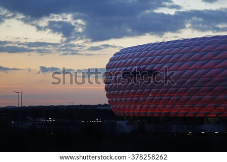 MUNICH, GERMANY - MARCH 11 2015:  A general view of the stadium before the UEFA Champions League match between Bayern Munich and FC Shakhtar Donetsk.  - stock photo