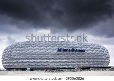 MUNICH, GERMANY - 11 MARCH 2016: Allianz Arena stadium in cloudy day in Munich, Germany. The Allianz Arena is home football stadium for FC Bayern Munich with a 69,901 seating capacity. - stock photo