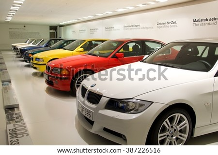MUNICH, GERMANY - 5 MARCH 2016: The BMW series 3 presented at BMW Museum in Munich, Germany. - stock photo
