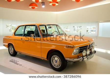 MUNICH, GERMANY - 5 MARCH 2016: The BMW  2002 TI presented at BMW Museum in Munich, Germany. - stock photo