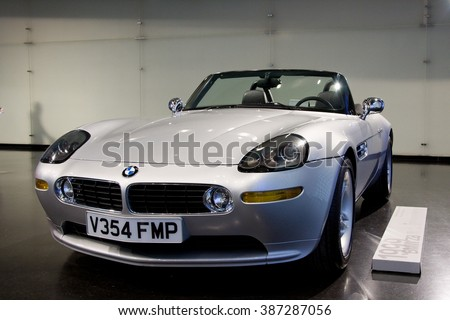 MUNICH, GERMANY - 5 MARCH 2016: The BMW  Z8 from James Bond movie presented at BMW Museum in Munich, Germany. - stock photo