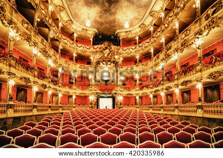 MUNICH,GERMANY - 14 MRCH 2016:Beautiful intetrior of red and golden of Old Residence Theatre in Munich - stock photo