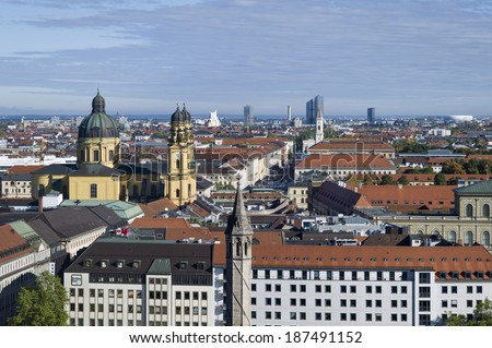 MUNICH, GERMANY - OCT 17:The skyline of Central Marienplatz square on October 17, 2013 in Munich, Germany. Marienplatz has been city's main square since 1158.