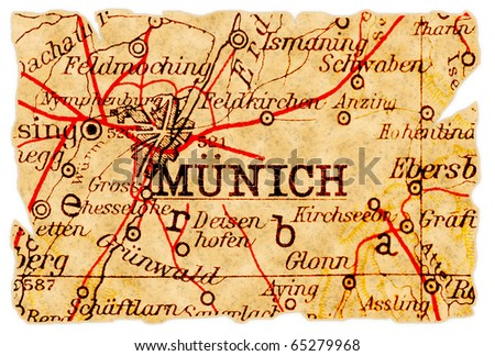 Munich, Germany on an old torn map from 1949, isolated. Part of the old map series. - stock photo