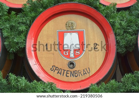 MUNICH, GERMANY - SEPT. 21, 2014:  Traditional Spatenbrau Beer Keg at the 181st Oktoberfest celebrating the festivities. The Festival runs from Sept. 20 - Oct. 5  in Munich, Germany. - stock photo