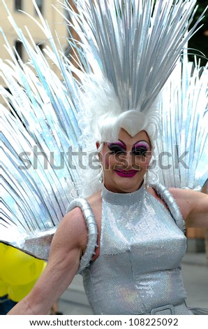 MUNICH - JULY 14: Participant at the at the Christopher Street Day (Gay Pride) in Munich on July 14, 2012. - stock photo