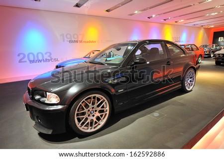 MUNICH - JUNE 8: BMW M3 CSL on display in BMW Museum on June 8, 2013 in Munich - stock photo
