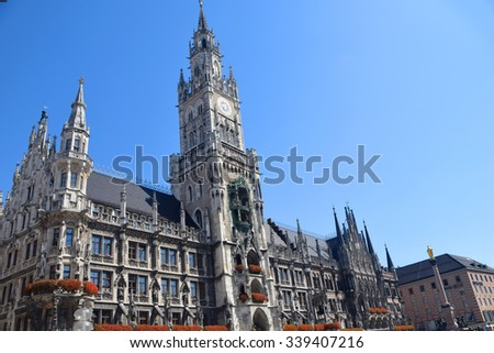 Munich Marienplatz City Hall Building - stock photo