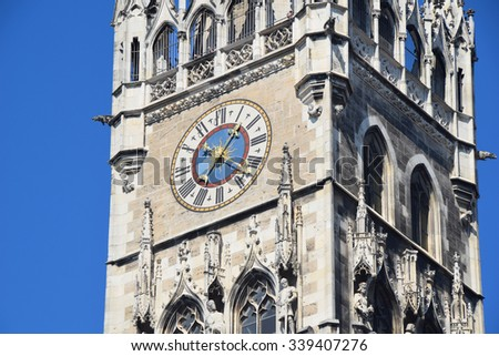 Munich Marienplatz City Hall Tower Clock - stock photo