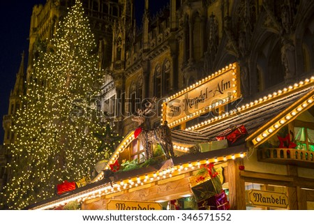 MUNICH - NOV 27: Christmas Market at Marienplatz on November 27, 2015 in Munich, Germany - stock photo