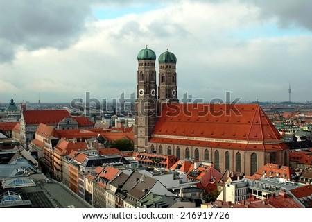MUNICH - November 07: View of Munich city center, on November 07, 2007. Munich is the capital of Bavaria, Germany. - stock photo