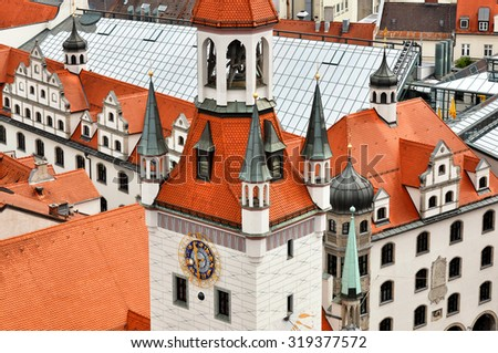 Munich -  old town and red roofs - stock photo