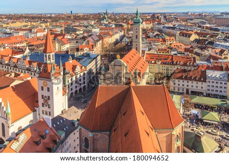 Munich Panorama with old city hall, Holy Spirit Church and Viktualienmarkt, Bavaria, Germany - stock photo