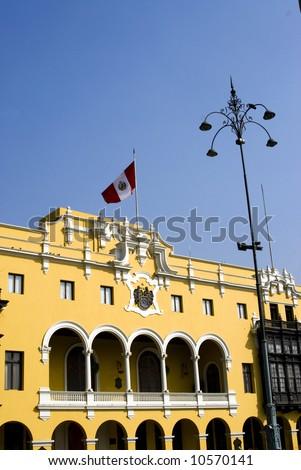 municipal government office lima peru on plaza mayor de armas by national palace - stock photo