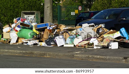 municipal waste on the street ready for recycling - stock photo