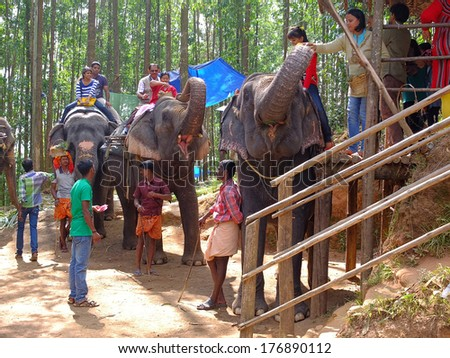MUNNAR, INDIA - JANUARY 2, 2014: Tourists riding elephants in an elephant park.