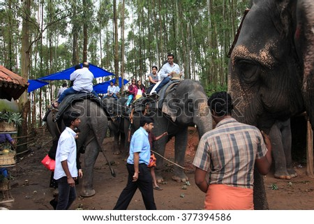 MUNNAR - SEP 30: Unidentified domestic tourists enjoy elephant rides in the hills on September 30, 2014 in Munnar, Kerala,India. Munnar is the top tourist place in Kerala
