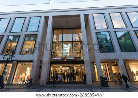MUNSTER, GERMANY - APR 4: Entrance of the Modern Shopping Center Munsterarkaden in Munster. April 4, 2015 in Munster, Germany