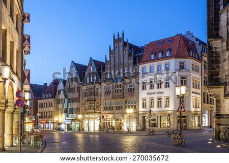 MUNSTER, GERMANY- APR 4: Gabled houses on the Prinzipalmarkt in the old town of Muenster. April 4, 2015 in Muenster, North Rhine-Westphalia, Germany