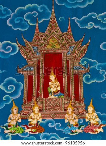 Mural Buddhist religion. Thai Temple in the eastern part of Thailand. - stock photo