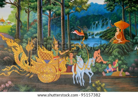 Mural mythology Buddhist religion in the temple. - stock photo
