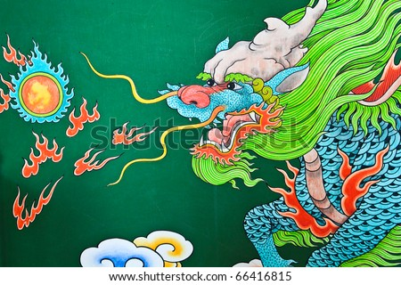 Mural Painting of Thai, Chinese painting style. It's famous place for travel. - stock photo
