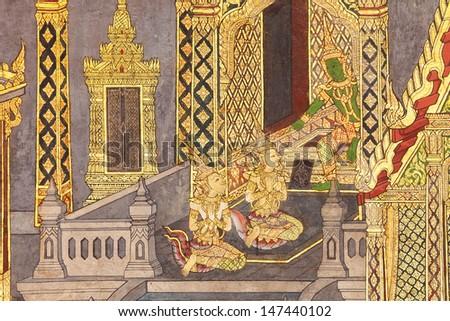 Murals at Wat Phra Kaew. - stock photo