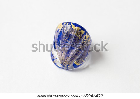 Murano glass ring Isolated on white background with light shadow