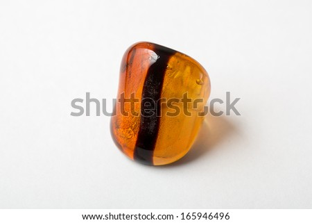 Murano glass ring Isolated on white background with light shadow  - stock photo