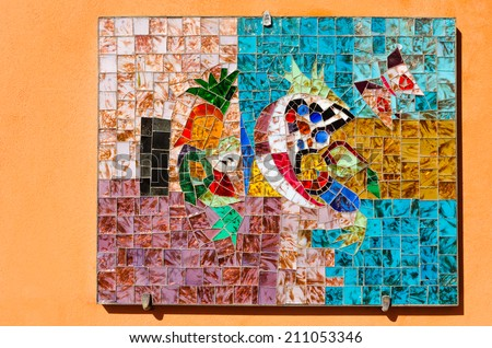 MURANO, ITA - April 09:Mosaic of glassblowing and glass making transition on April 09 2014.Murano Island is famous for its glass making, particularly lampworking. - stock photo