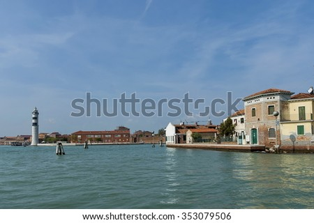 Murano, Venice, Italy - September 23, 2011: Murano,  Italy, a small island near Venice, famous for blown glass. Visit of ancient island Murano in autumn.