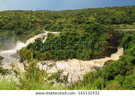 Murchison and Uhuru falls in Murchison Falls National Park, Uganda. - stock photo