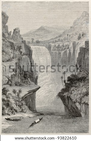 Murchison falls old view, Nile river, Uganda. Created by Grandsire after Baker, published on Le Tour du Monde, Paris, 1867 - stock photo