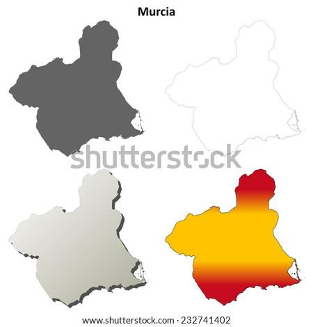 Murcia blank detailed outline map set - jpeg version  - stock photo