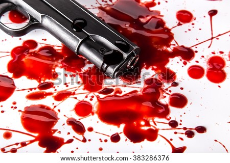 Murder concept - gun with blood on white background, close-up. - stock photo
