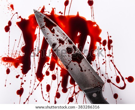 Murder concept - knife with blood on white background, close-up. - stock photo