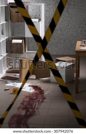Murder in the house - barricaded crime scene - stock photo