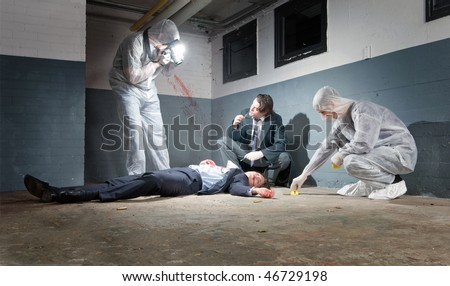 Murder scene with two forensic analysts and a police lieutenant investigating a crime on a businessman in a basement