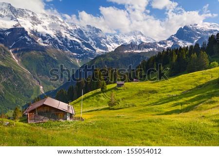 Murren in summer, Switzerland Overview - stock photo