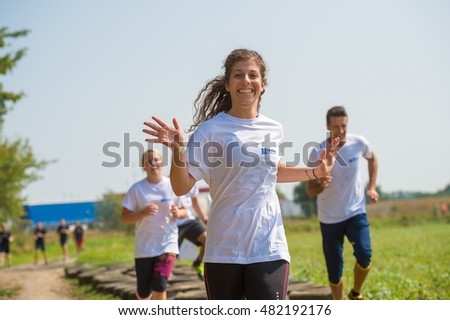 Murska Sobota, Slovenia, 09.10.2016: The contestants took part in the race OVIRATLON obstacle CHALLENGE Murska Sobota, Slovenia on 09.10.2016