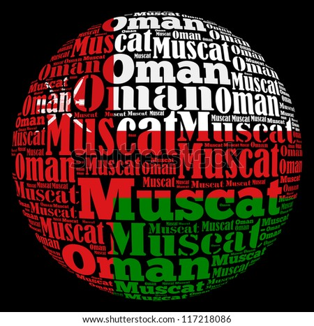 Muscat capital city of Oman info-text graphics and arrangement concept on black background (word cloud) - stock photo